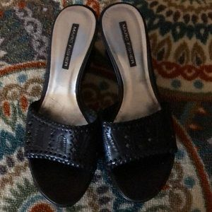 Like new black leather Marc Fisher wedges.